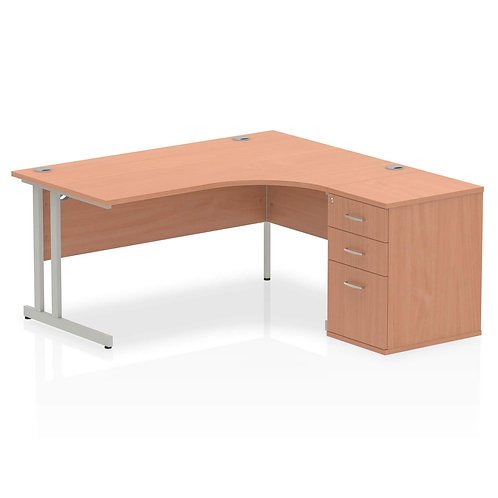 Impulse 1600mm Right Hand Crescent Desk Cantilever Leg Package Deal