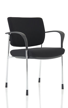 Brunswick Deluxe Black Fabric Back Chrome Frame With Arms