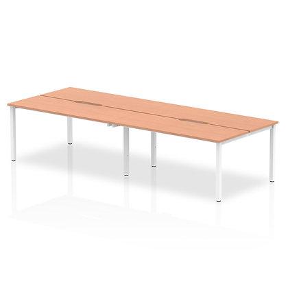 B2B White Frame Bench Desk 1200 Beech (4 Pod)