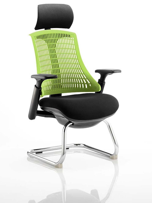 Flex Visitor Cantilever Chair Black Fabric Seat With Green Back With Headrest