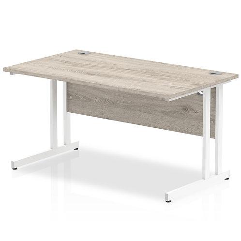 Impulse 1400/800 Rectangle White Cantilever Leg Desk Grey Oak