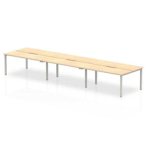B2B Silver Frame Bench Desk 1200 Maple (6 Pod)