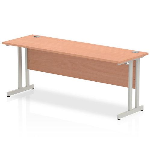 Impulse 1800/600 Rectangle Silver Cantilever Leg Desk Beech