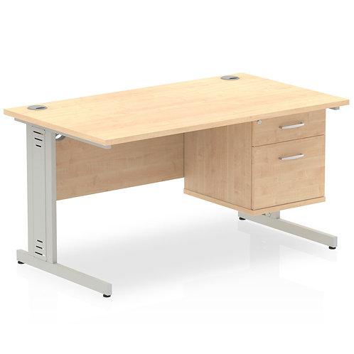 Impulse 1400 Rectangle Desk Maple 1 x 2 Drawer Fixed Ped