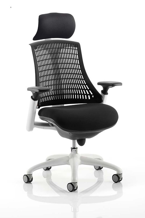 Flex Task Operator Chair White Frame Black Fabric Seat