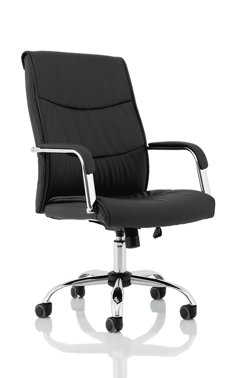 Carter Black Luxury Faux Leather Chair With Arms