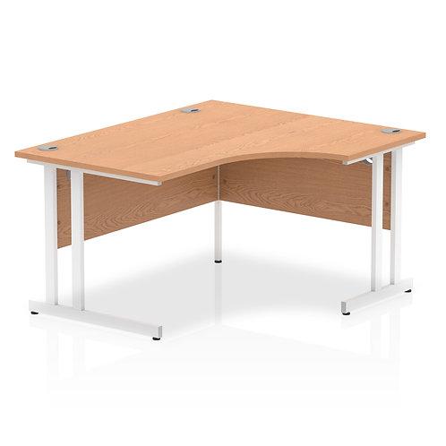 Impulse 1400 Right Hand White Crescent Cantilever Leg Desk Oak
