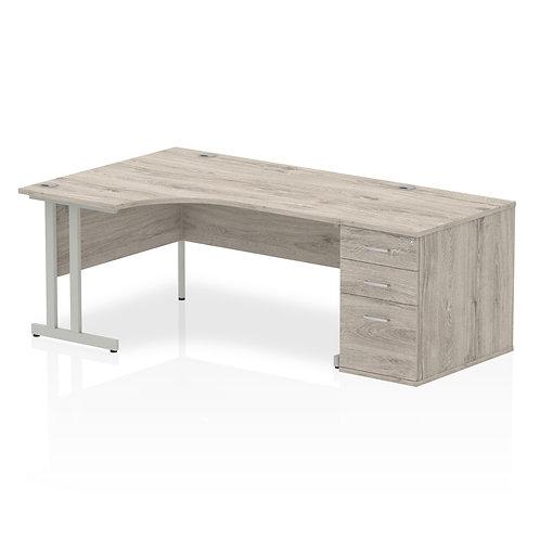 Impulse 1600 Left Hand Crescent Desk Grey Oak Cantilever Leg Bundle