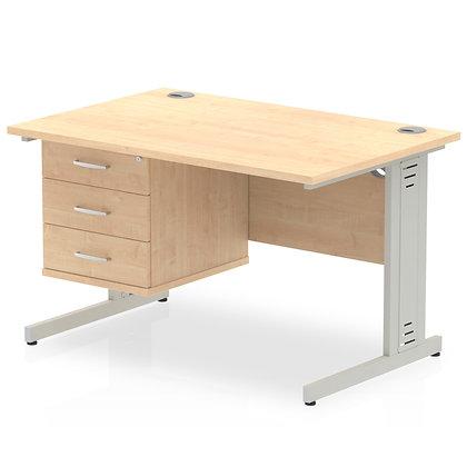 Impulse 1200 Rectangle Desk Maple 1 x 3 Drawer Fixed Ped