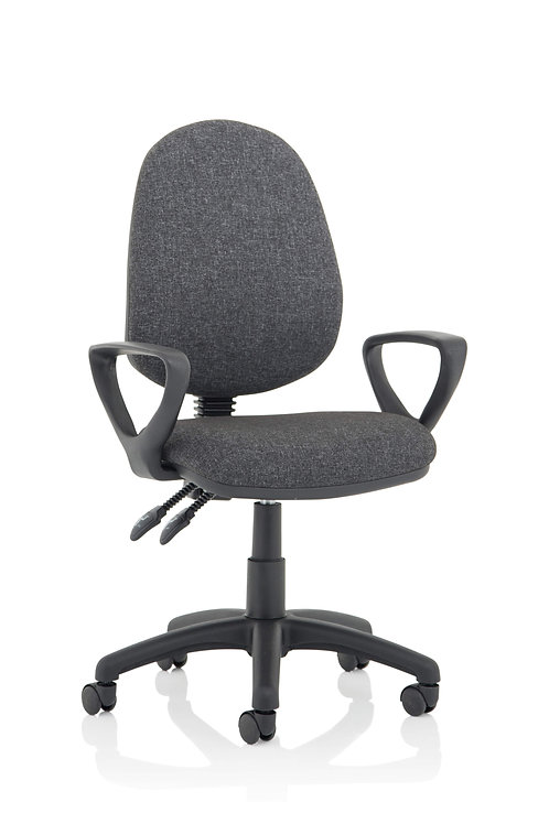 Eclipse Plus II Lever Task Operator Chair Charcoal With Loop Arms