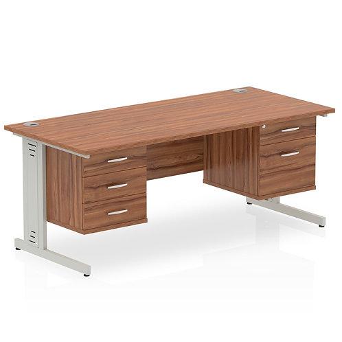 Impulse 1600 Rectangle Desk Walnut 1 x 2 Drawer 1 x 3 Drawer Fixed Ped