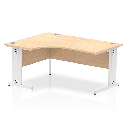 Impulse 1600 Left Hand White Crescent Cable Managed Leg Desk Maple