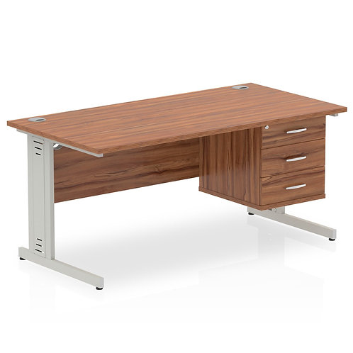 Impulse 1600 Rectangle Desk Walnut 1 x 3 Drawer Fixed Ped