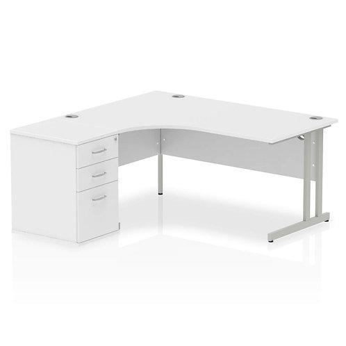 Impulse 1600mm Left Hand Crescent Desk Cantilever Leg Package Deal