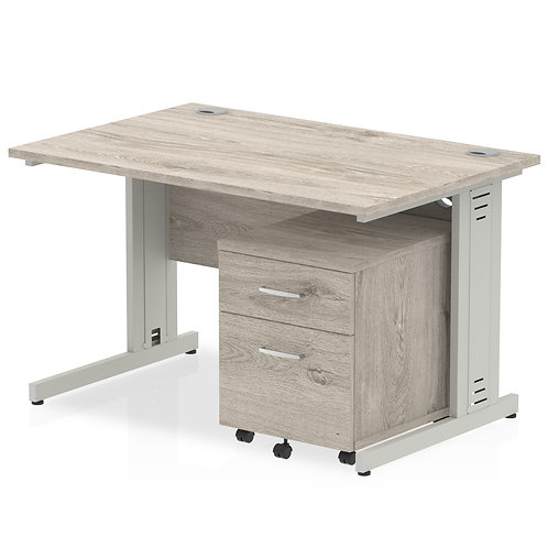 Impulse 1200 Straight Desk Grey Oak Cable Managed Leg Pedestal Bundle