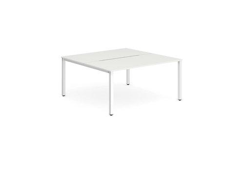 B2B White Frame Bench Desk 1400 White (2 Pod)