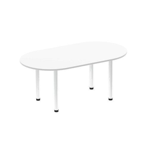 Impulse 1800 Boardroom Table White Chrome Post Leg