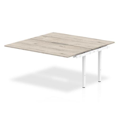 B2B Ext Kit White Frame Bench Desk 1600 Grey Oak