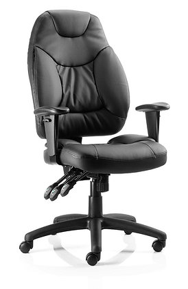 Galaxy Task Operator Chair Black Leather With Arms