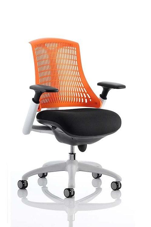 Flex Task Operator Chair White Frame Black Fabric Back
