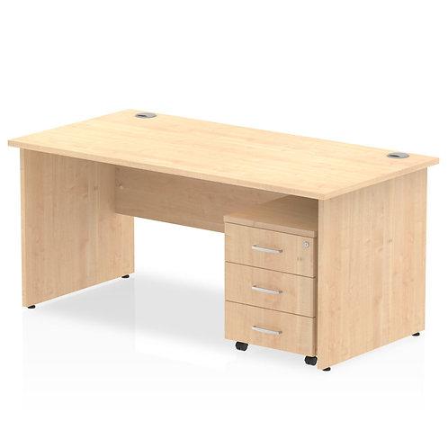 Impulse 1400 x 800mm Straight Desk Maple Top Panel End Leg Pedestal Bundle