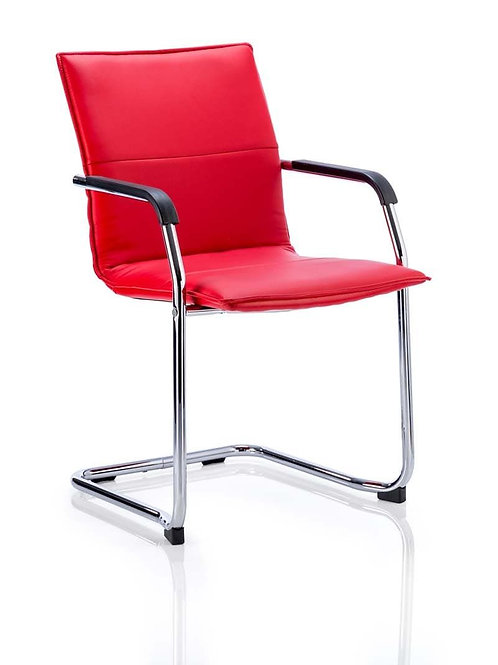Echo Cantilever Chair Red Soft Bonded Leather With Arms