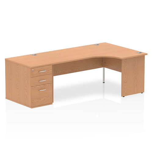 Impulse 1600mm Right Hand Crescent Desk Oak End Leg Package Deal