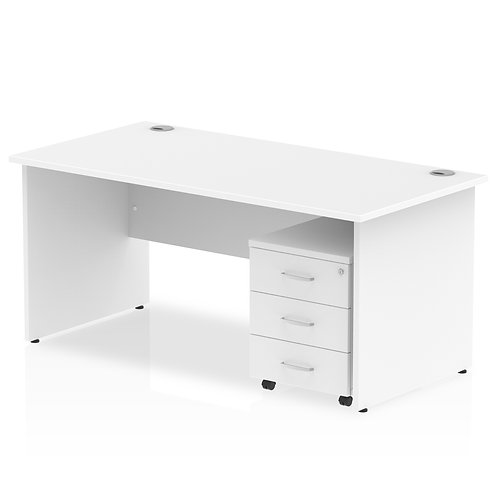 Impulse 1400 x 800mm Straight Desk White Top Panel End Leg Pedestal Bundle