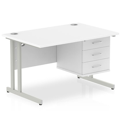 Impulse 1200 Rectangle Silver Cant Leg Desk White 1 x 3 Drawer Fixed Ped