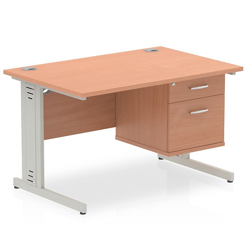 Impulse 1200 Rectangle Desk Beech 1 x 2 Drawer Fixed Ped