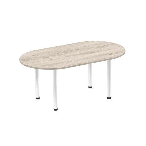Impulse 1800 Boardroom Table Grey Oak Chrome Post Leg