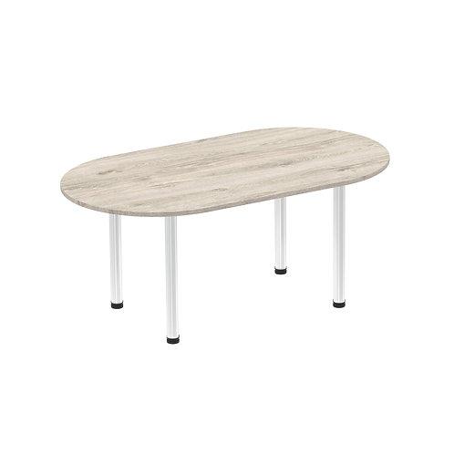 Impulse 1800 Boardroom Table Grey Oak Brushed Aluminium Post Leg