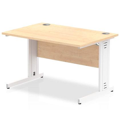 Impulse 1200/800 Rectangle White Cable Managed Leg Desk Maple