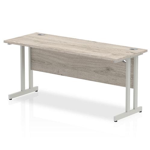 Impulse 1600/600 Rectangle Silver Cantilever Leg Desk Grey Oak