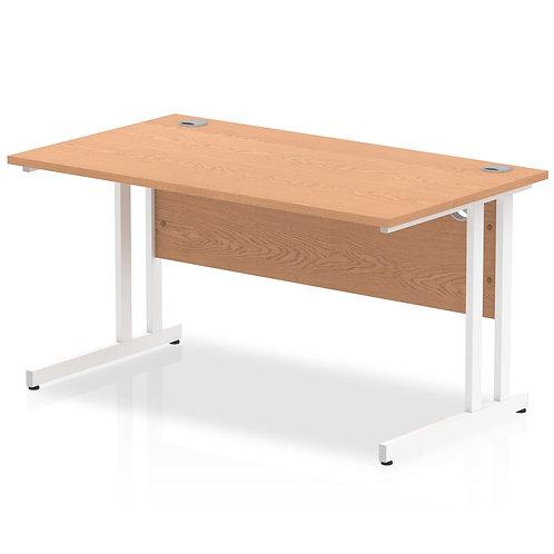 Impulse 1400/800 Rectangle White Cantilever Leg Desk Oak