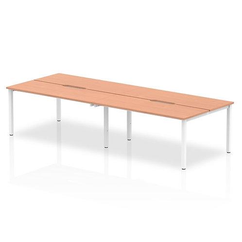 B2B White Frame Bench Desk 1400 Beech (4 Pod)