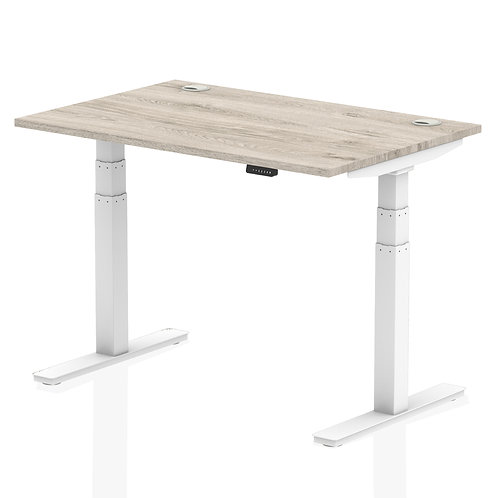 Air 1200/800 Grey Oak Height Adjustable Desk With Cable Ports With White Legs