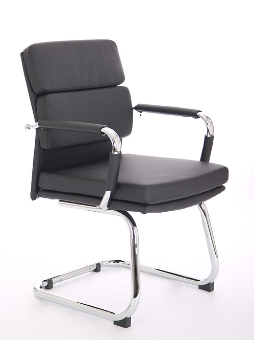 Advocate Visitor Chair Black Soft Bonded Leather With Arms