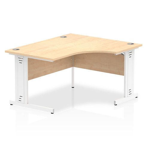 Impulse 1400 Right Hand White Crescent Cable Managed Leg Desk Maple