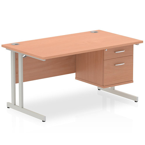 Impulse 1400 Rectangle Silver Cant Leg Desk Beech 1 x 2 Drawer Fixed Ped