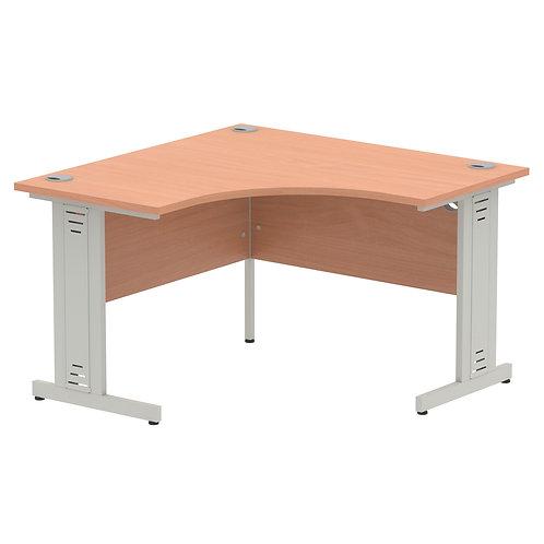 Impulse 1200 Corner Desk Silver Cable Managed Leg Desk Beech
