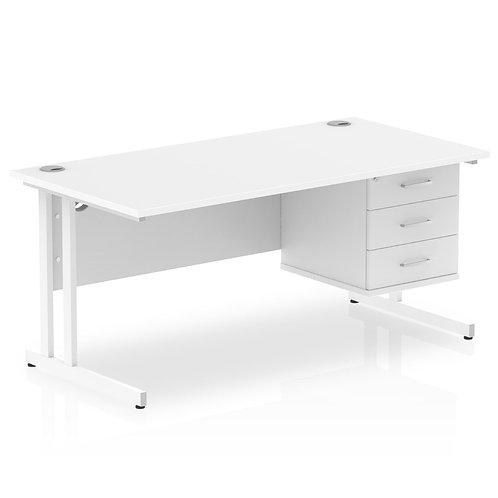 Impulse 1600 Rectangle White Cant Leg Desk White 1 x 3 Drawer Fixed Ped