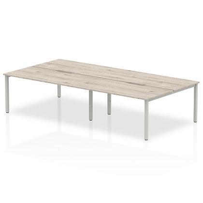B2B Silver Frame Bench Desk 1400 Grey Oak (4 Pod)