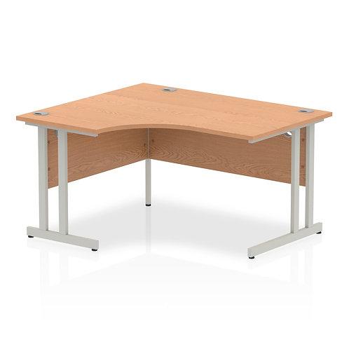 Impulse 1400 Left Hand Silver Crescent Cantilever Leg Desk Oak