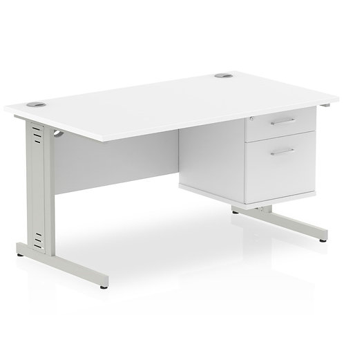 Impulse 1400 Rectangle Desk White 1 x 2 Drawer Fixed Ped