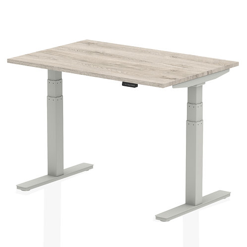 Air Grey Oak Height Adjustable Desk With Silver Legs