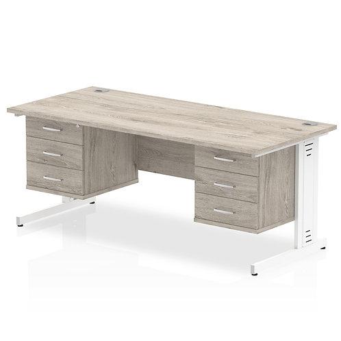Impulse 1800 Rectangle Desk Grey Oak 2 x 3 Drawer Fixed Ped