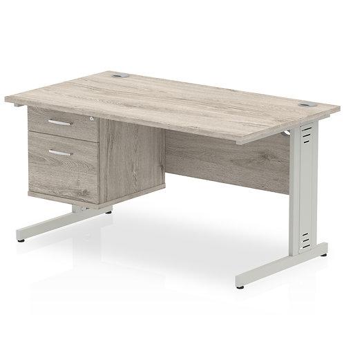 Impulse 1400 Rectangle Desk Grey Oak 1 x 2 Drawer Fixed Ped