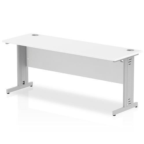 Impulse 1800/600 Rectangle Silver Cable Managed Leg Desk White