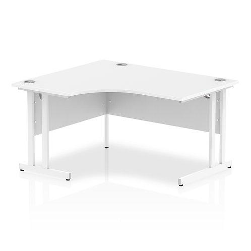 Impulse 1400 Left Hand White Crescent Cantilever Leg Desk White